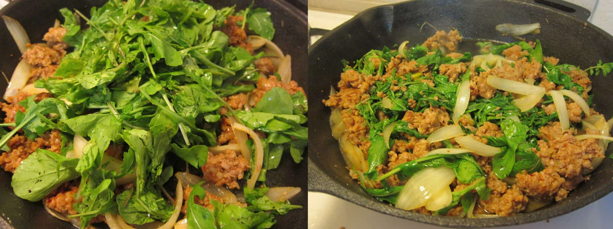 Baked Potatoes With Sausage And Arugula Recipe — Dishmaps