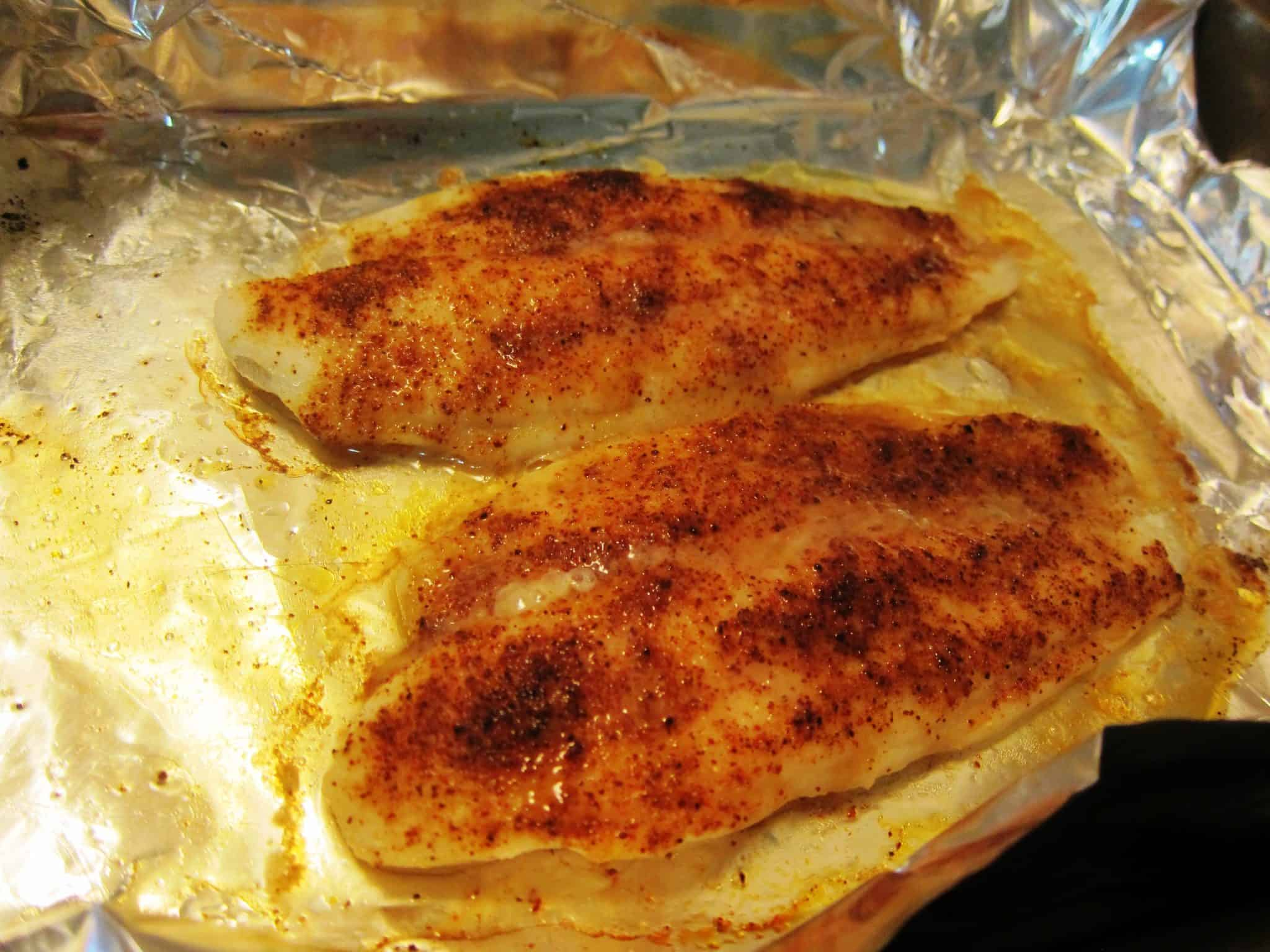 Spice rubbed swai fillets with peach tomatillo relish for How to bake swai fish in foil