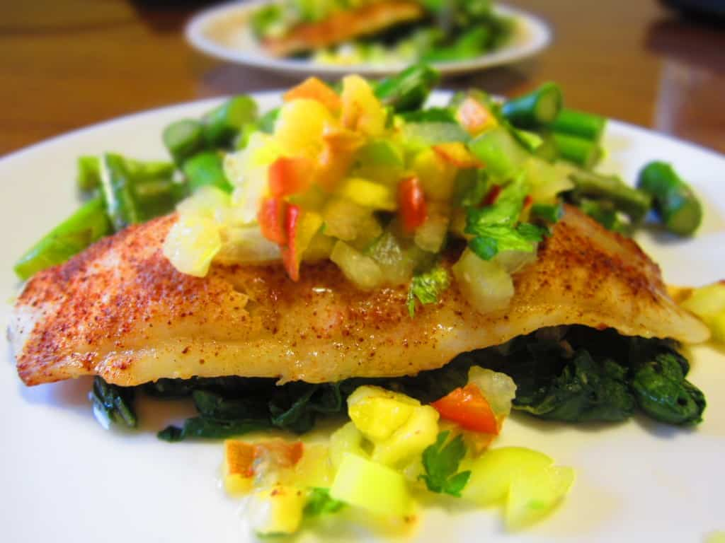 Spice rubbed swai fillets with peach tomatillo relish for Swai fish fillet