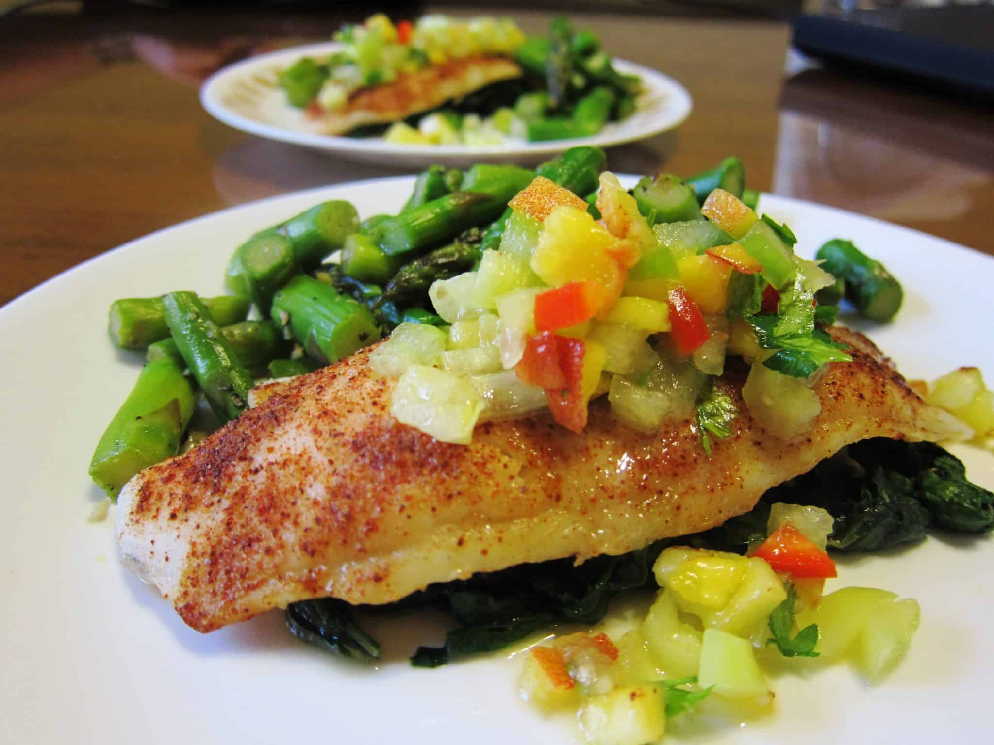 Spice rubbed swai fillets with peach tomatillo relish for Is swai fish good