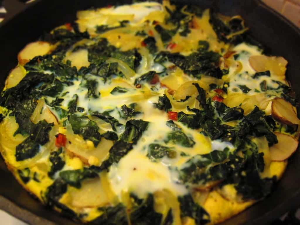 kale and potato frittata