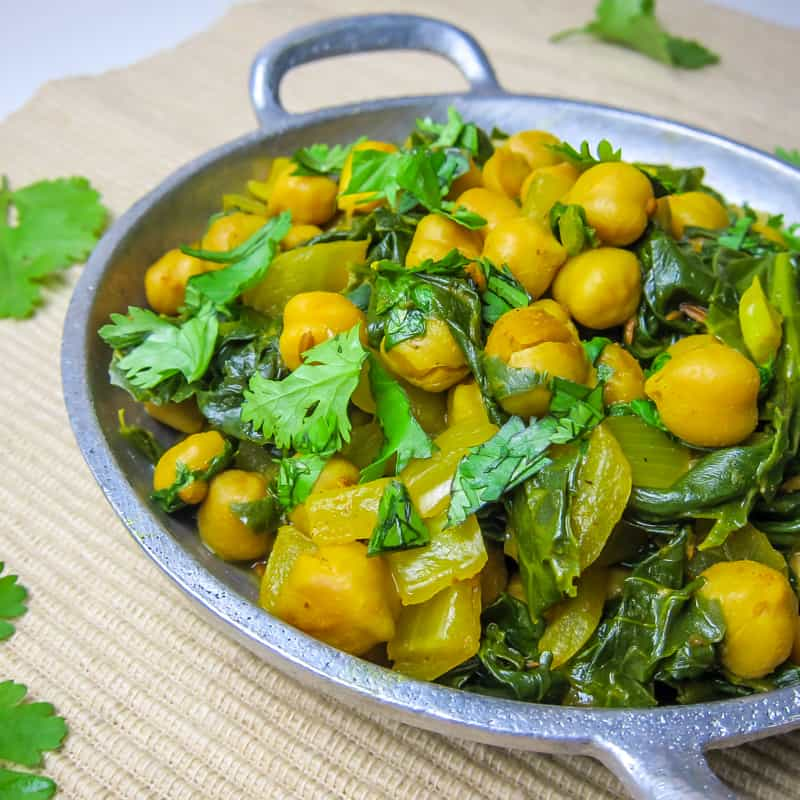 curried kale and chickpeas