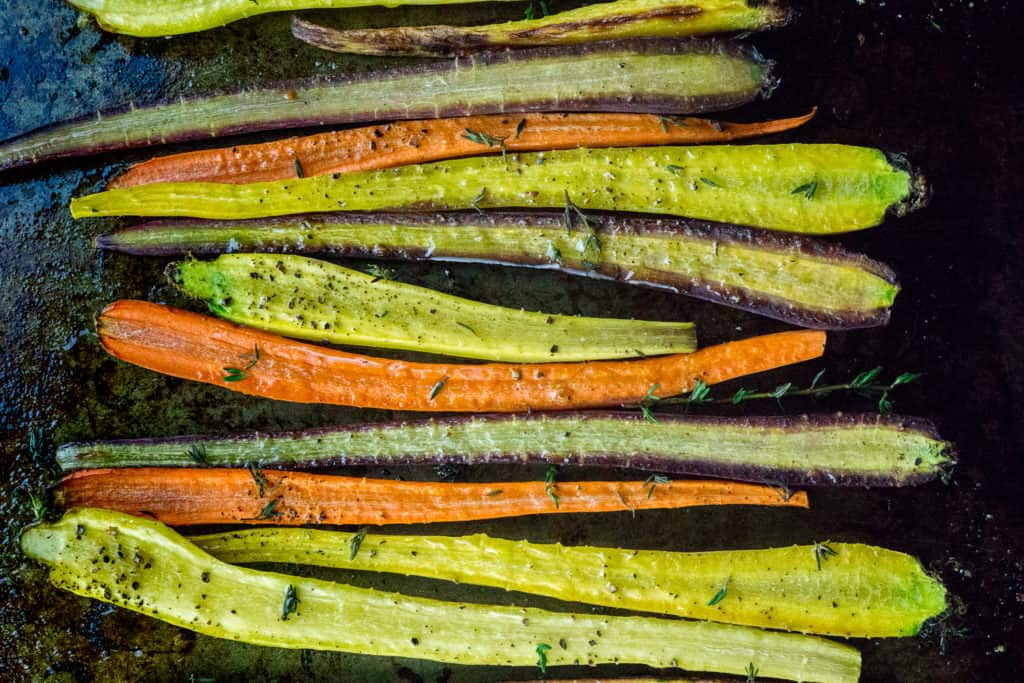 Thyme Roasted Carrots are a gorgeous addition to the dinner table, especially if you are tired of mushy vegetables!