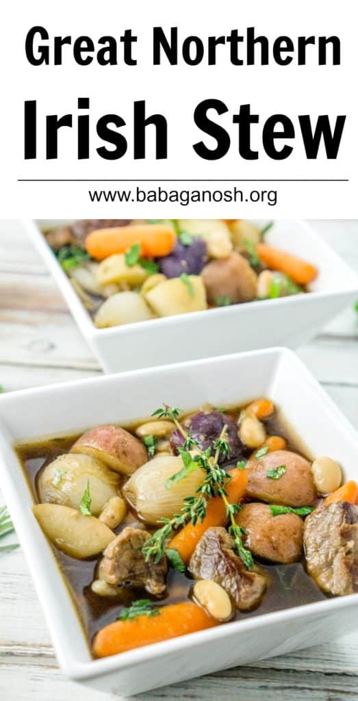 A fun twist on the Irish Stew, this Great Northern Irish Stew uses beans and baby vegetables to create a truly hearty, delicious, gourmet stew recipe!