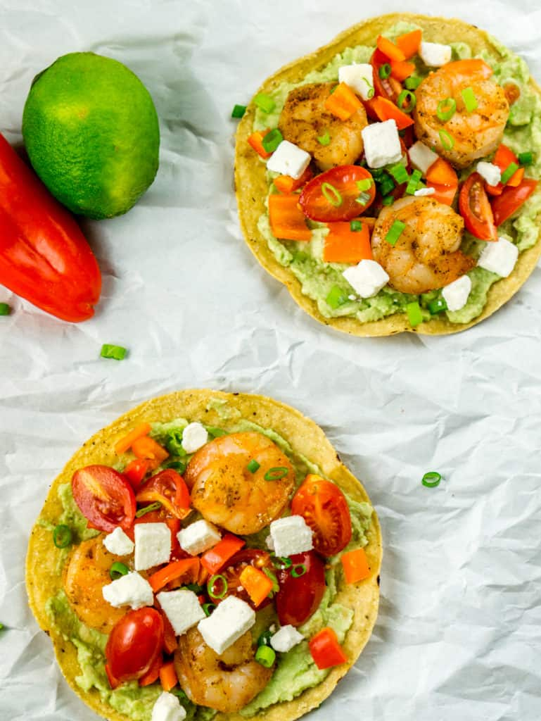 These easy Shrimp and Avocado Tostadas make the perfect snack from fresh, delicious ingredients!