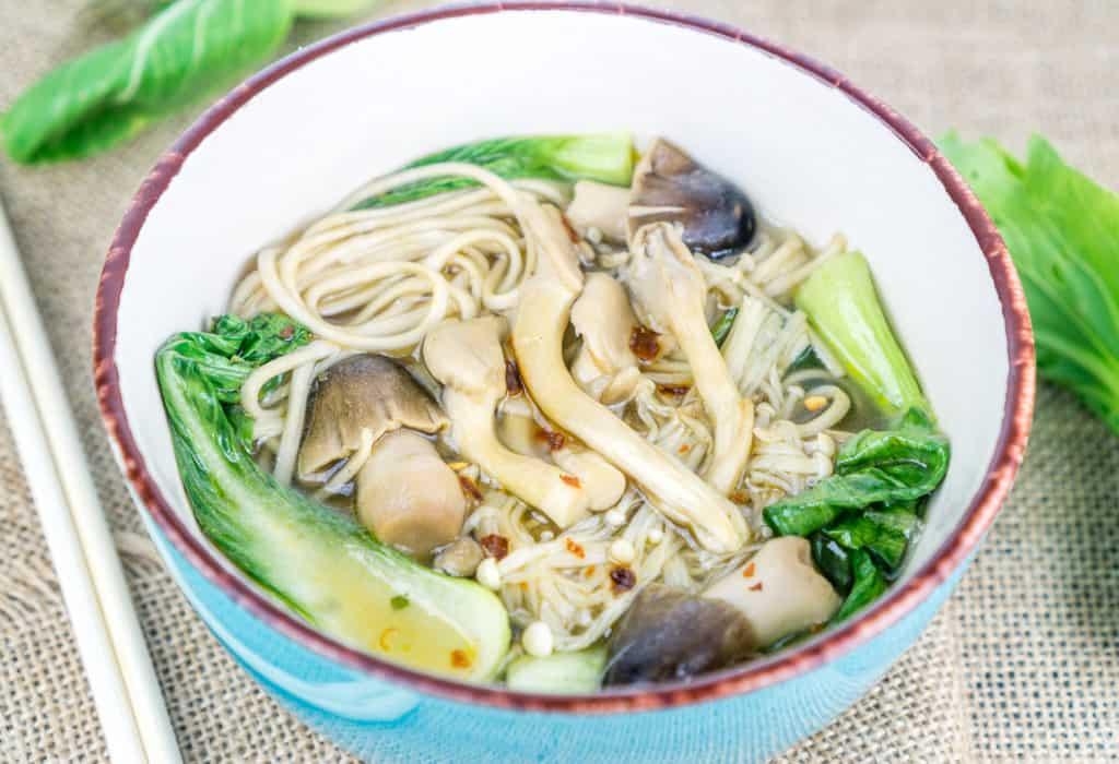 Lemongrass Ginger Mushroom Soup with Soba Noodles | Babaganosh.org