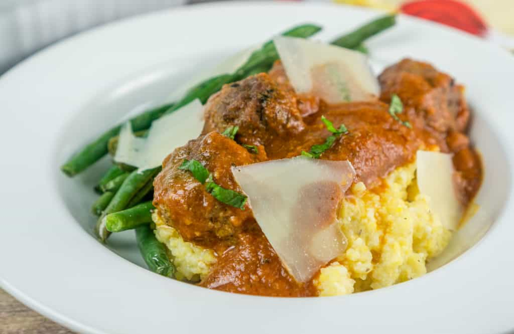 Moroccan Meatballs with Polenta and Green Beans | Babaganosh
