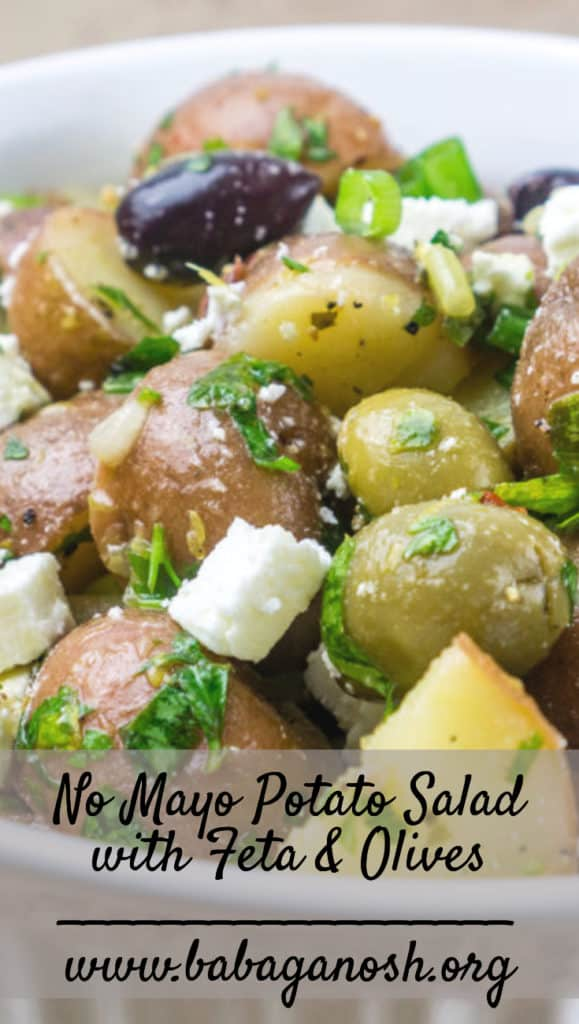 No Mayo Potato Salad with Feta and Olives | Babaganosh.org