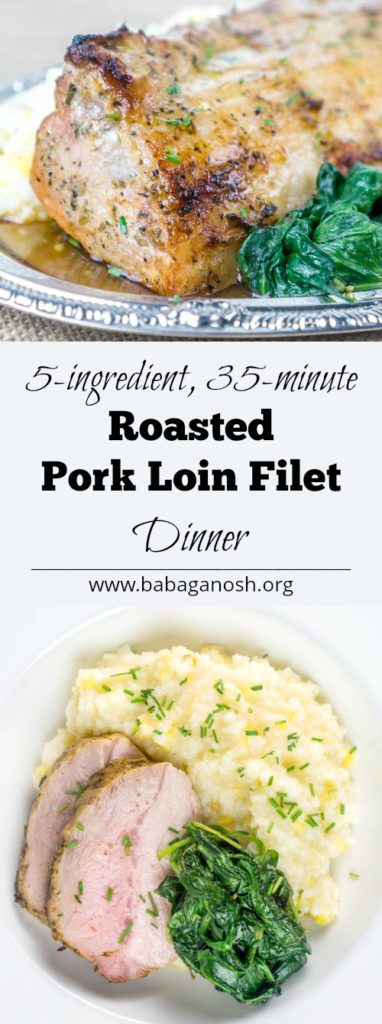 Roasted Pork Loin Dinner with Cheesy Grits and Sauteed Greens | Babaganosh.org