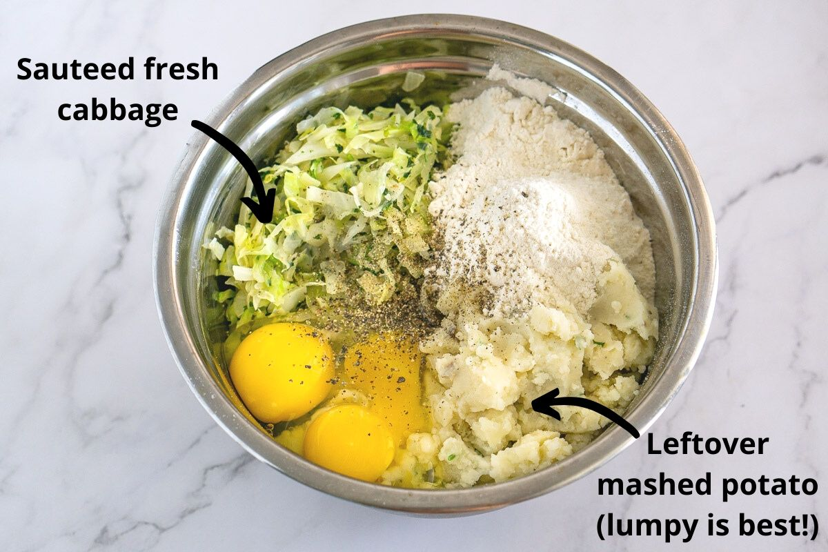 ingredients for bubble and squeak - cabbage and potato in a bowl