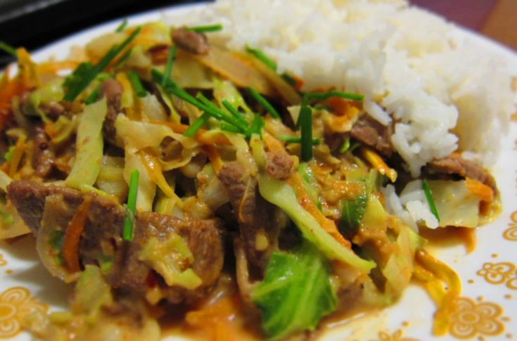 Beef and Cabbage Stir Fry with Peanut Sauce
