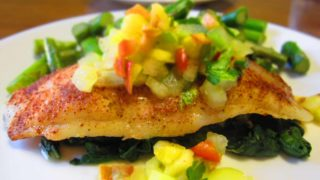 Spice Rubbed Swai Fillets with Peach Tomatillo Relish
