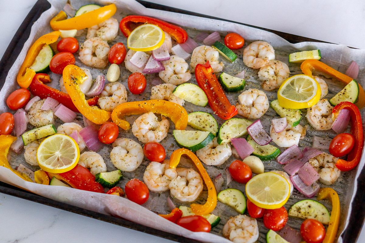 cooked sheet pan shrimp and vegetables