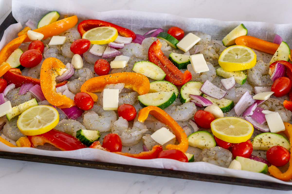sheet pan shrimp and vegetables before cooking