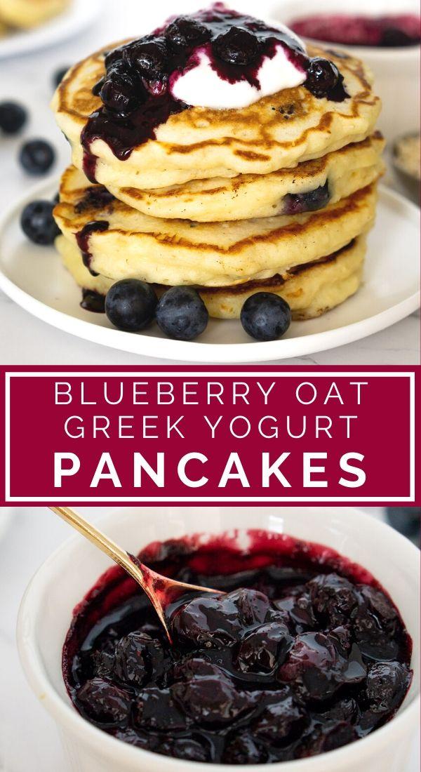 blueberry oat pancakes pinterest graphic