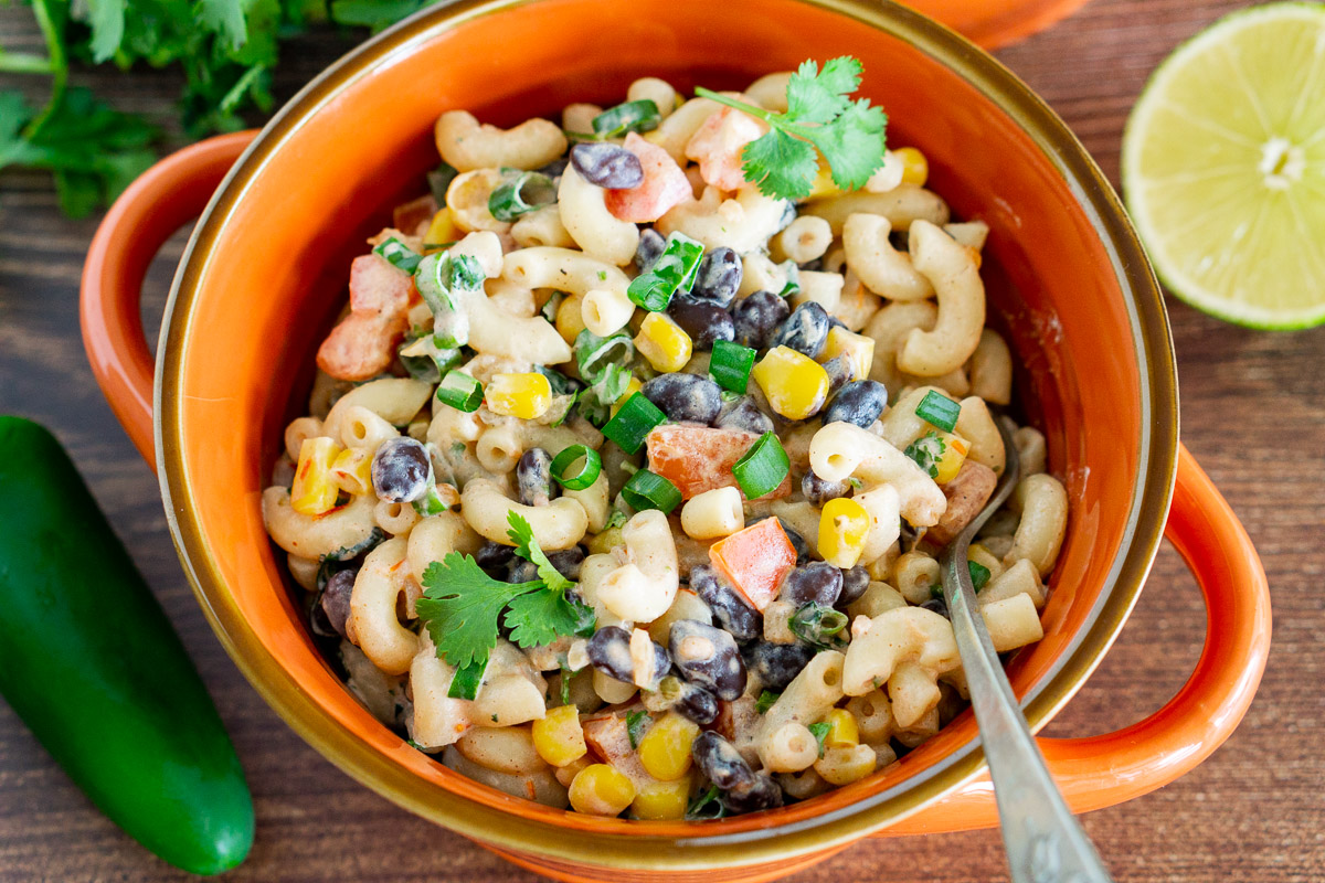 Mexican Pasta Salad with salsa in a bowl