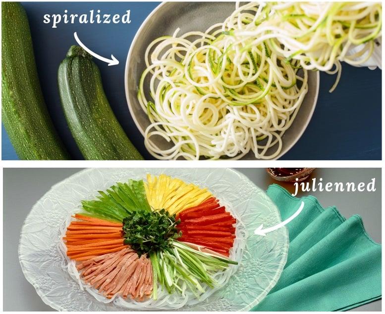 spiralized vs julienned vegetables