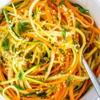 zucchini carrot salad with sesame ginger dressing