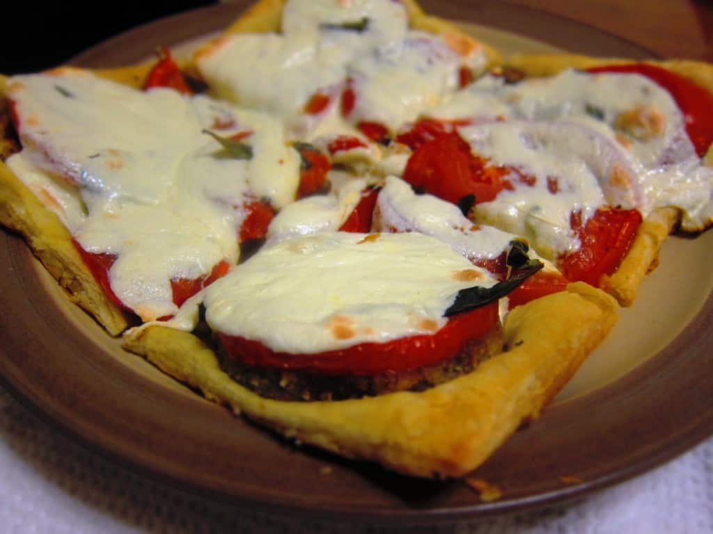 Eggplant Margherita Puff Pastry Tarts