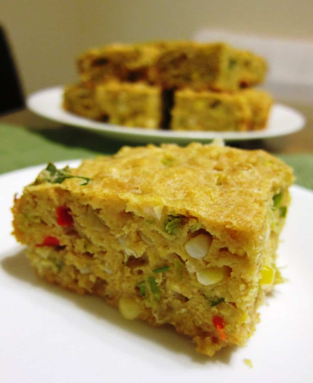 savory cornbread with leeks and cherry peppers