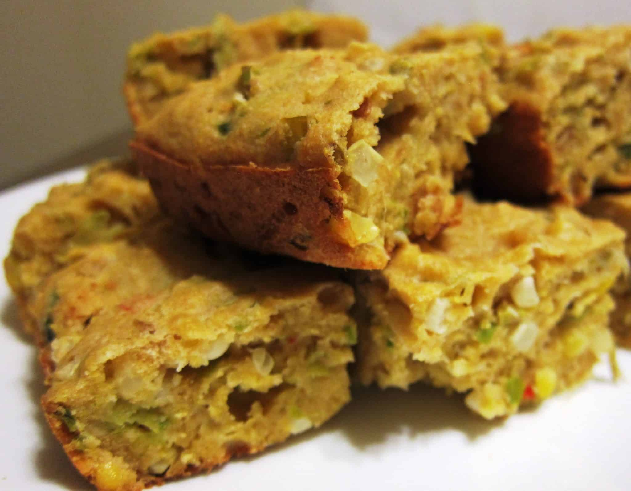 stack of savory cornbread on a plate