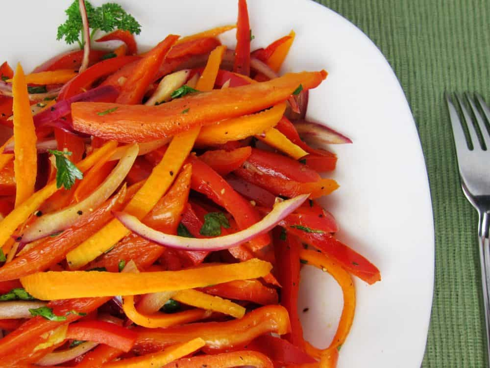 Warm Bell Pepper Salad with Carrots and Red Onion