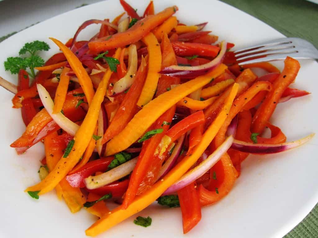 warm bell pepper salad
