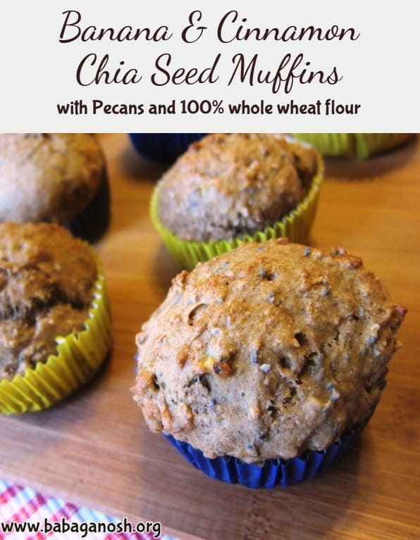 banana, cinnamon, and chia seed muffins with pecans - pinterest image