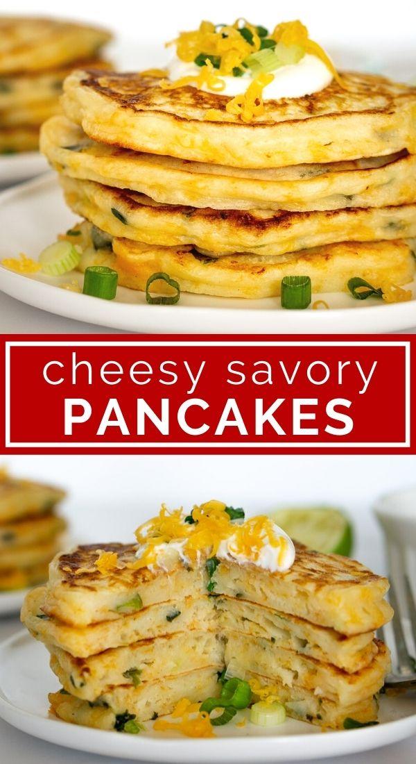 pinterest collage of stacks of savory pancakes