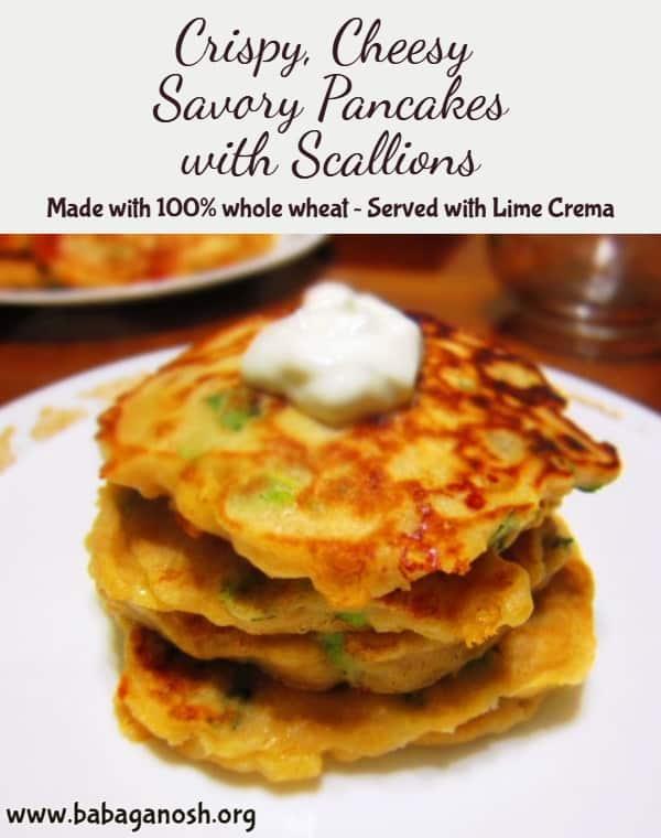 Cheesy Savory Pancakes with Scallions Pinterest image