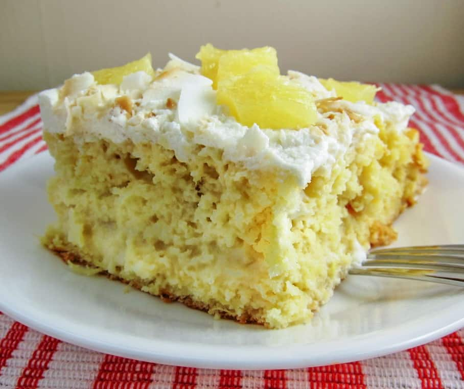 pineapple and coconut tres leches cake
