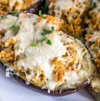 sausage stuffed eggplant