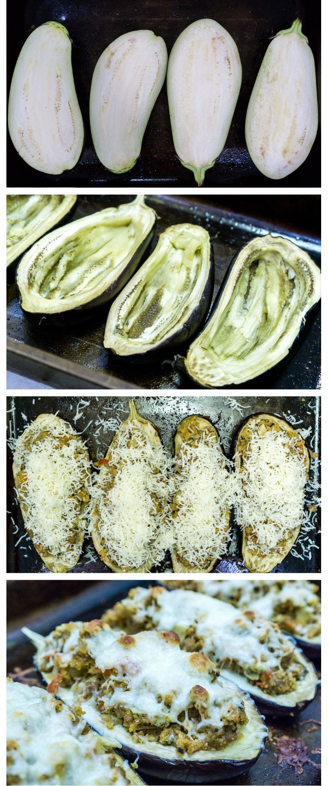 picture collage of step by step instructions how to make sausage stuffed eggplant