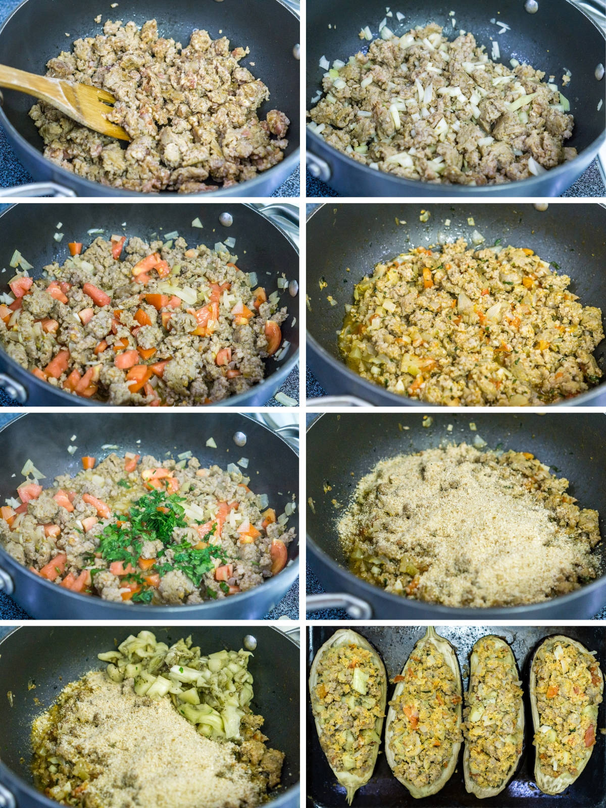 step by step photo collage of how to make sausage stuffing for eggplant boats
