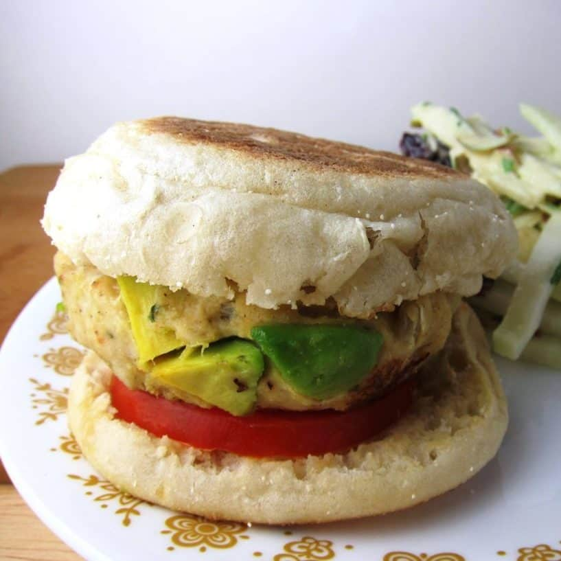 Avocado Chicken Burgers on an English Muffin