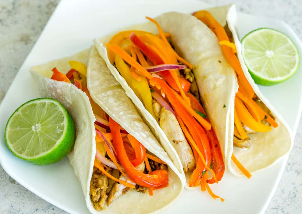 Tacos with warm bell pepper salad