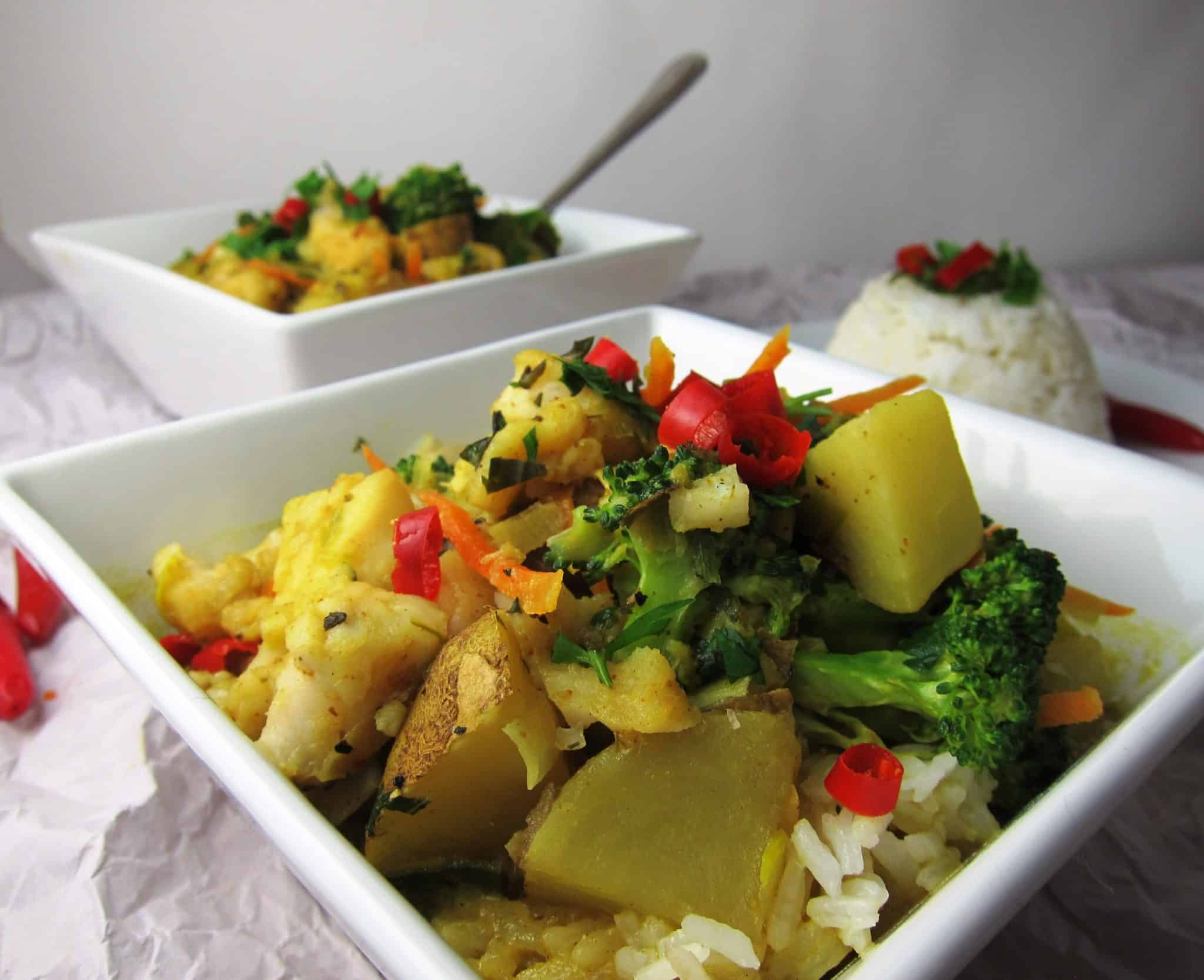 coconut curry with white fish