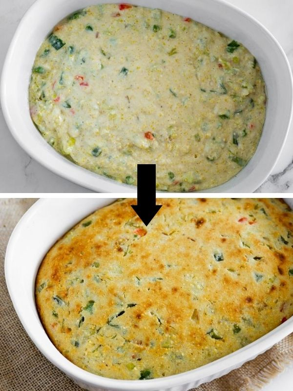before and after baking savory cornbread with leeks