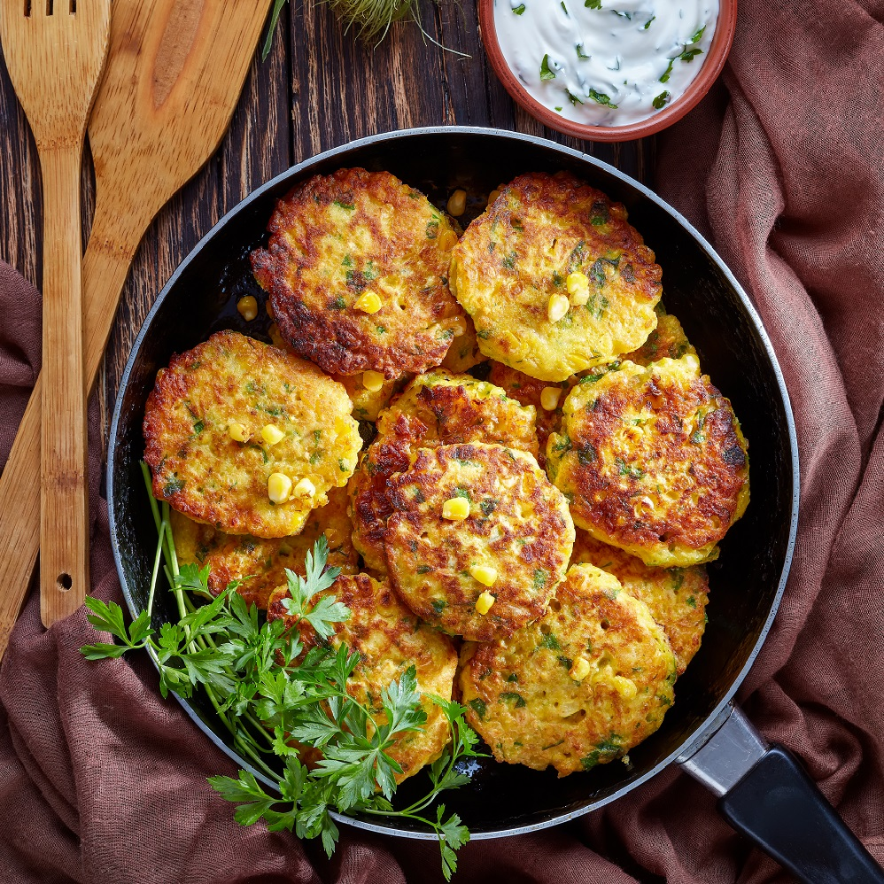 corn fritters in a skillet