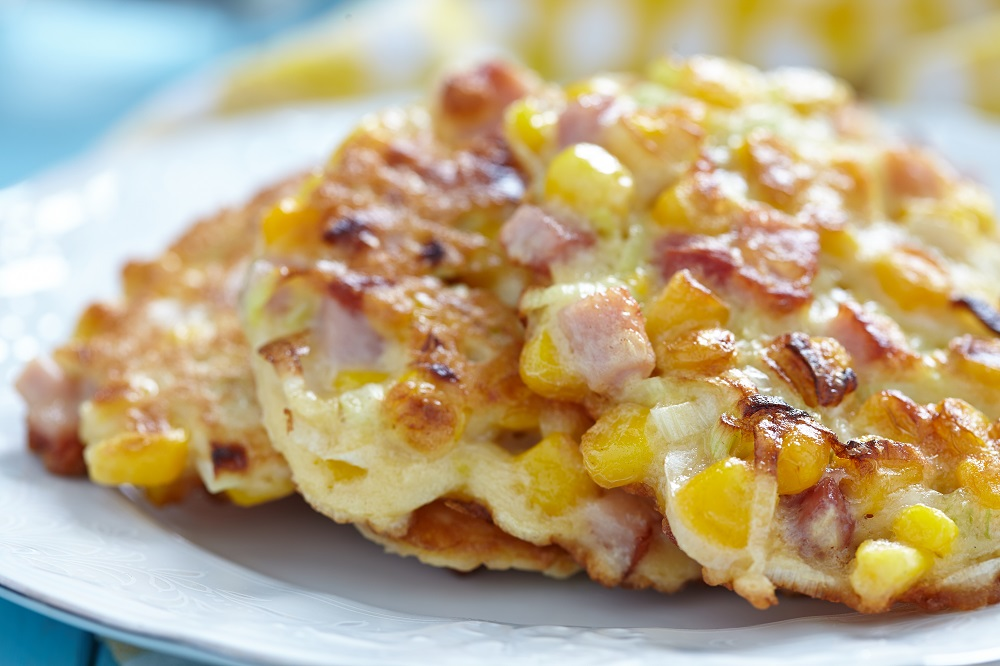 corn fritters with ham