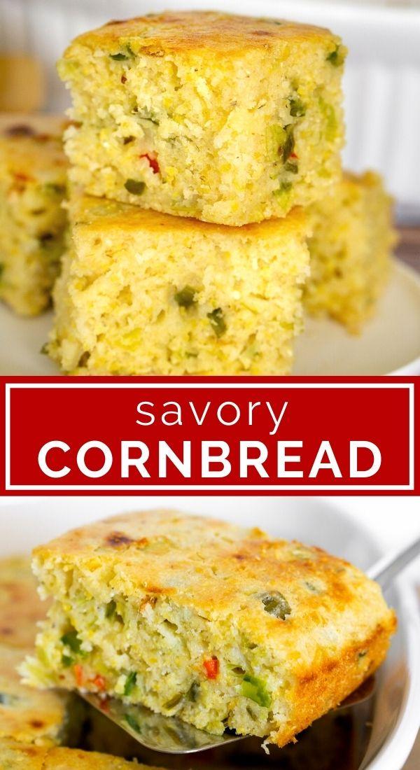 Savory Cornbread collage / pinterest graphic