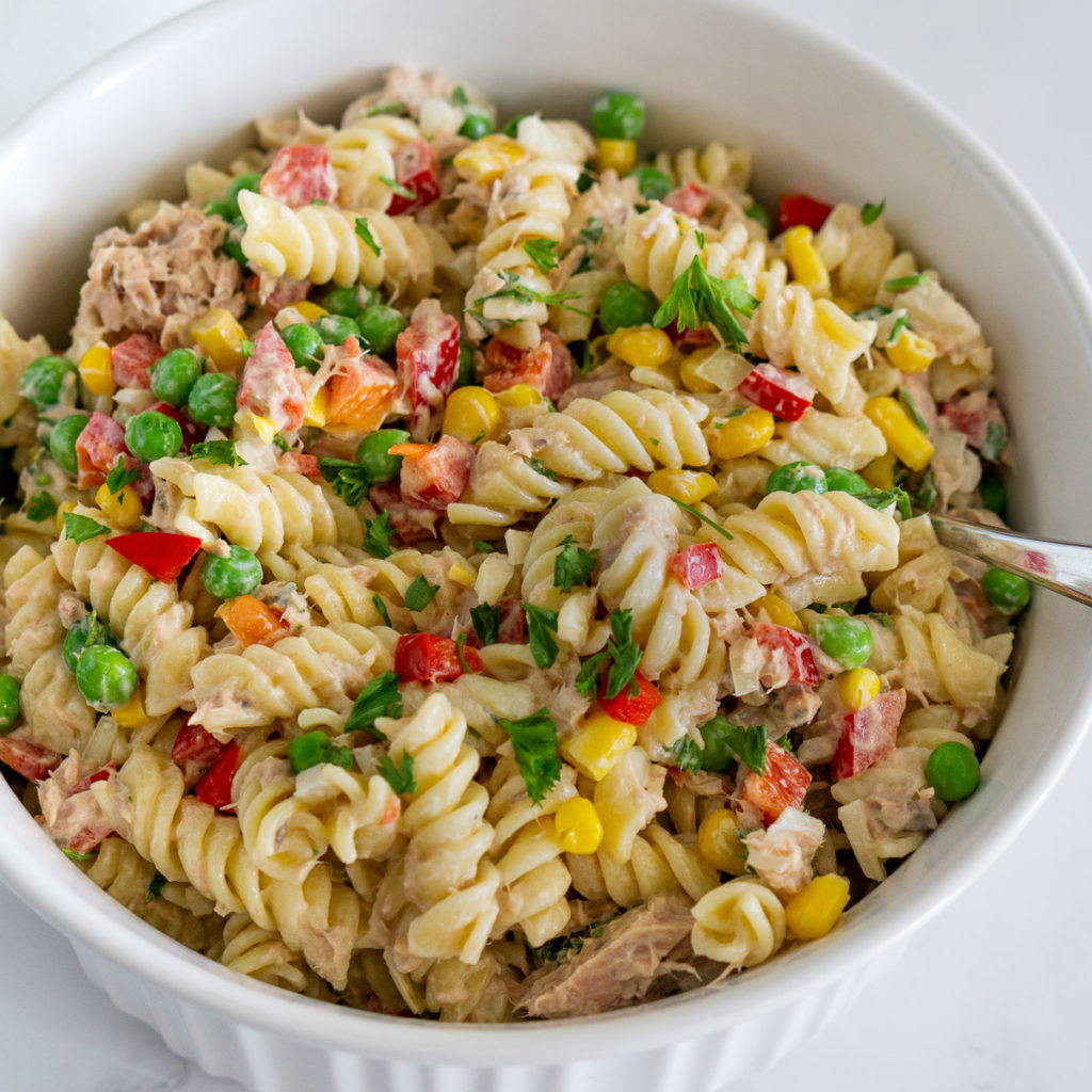 tuna pasta salad in a bowl