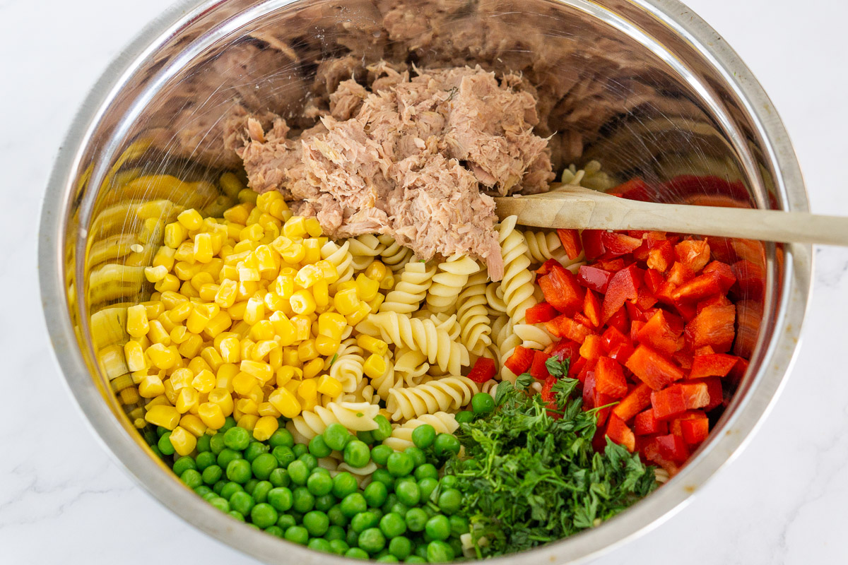 ingredients for tuna pasta salad with vegetables