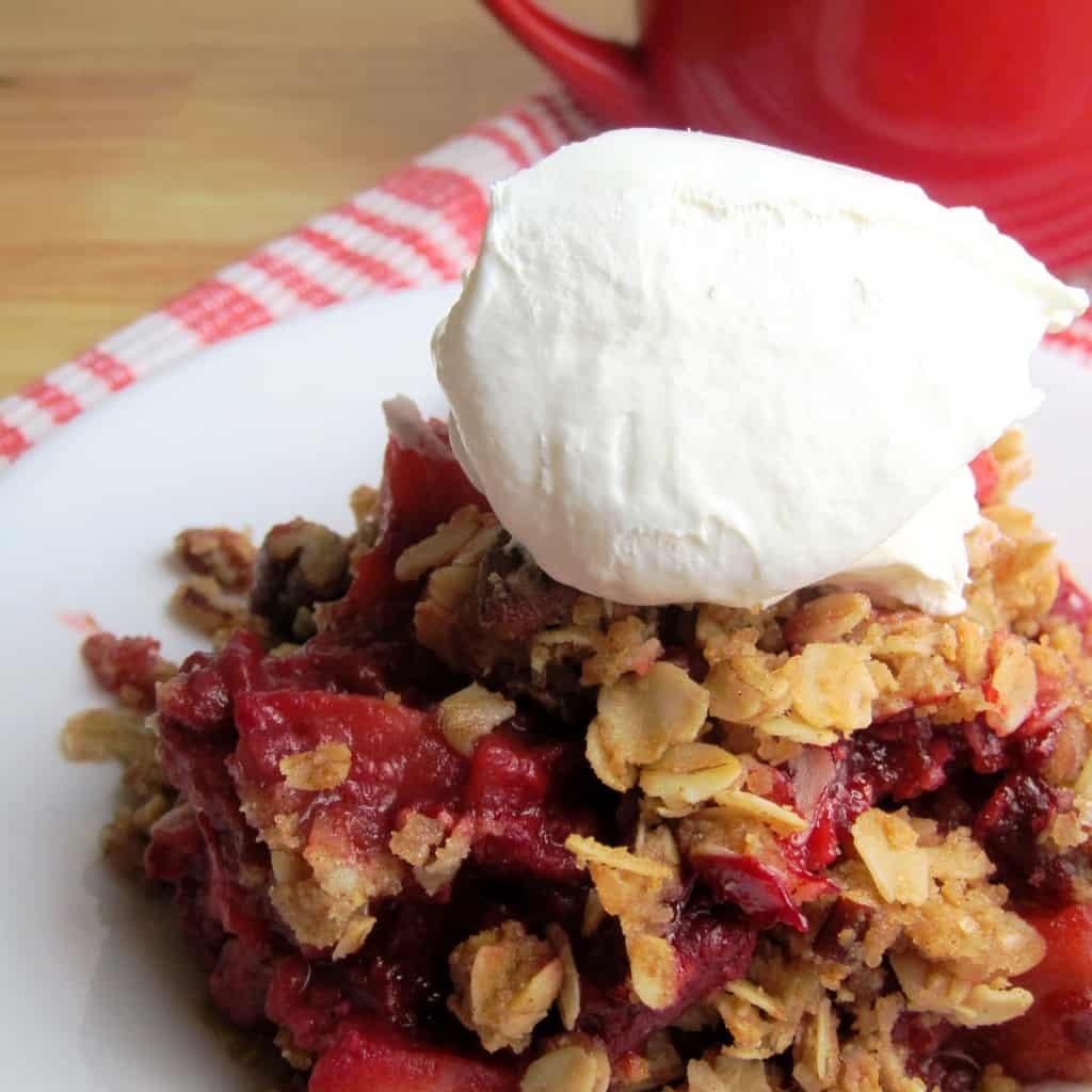 Apple Raspberry Crisp with Oat Pecan Topping