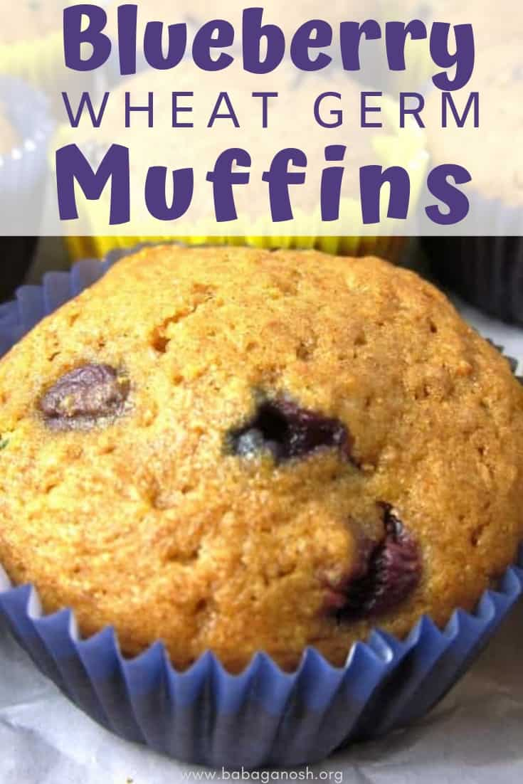 pinterest image of blueberry wheat germ muffins