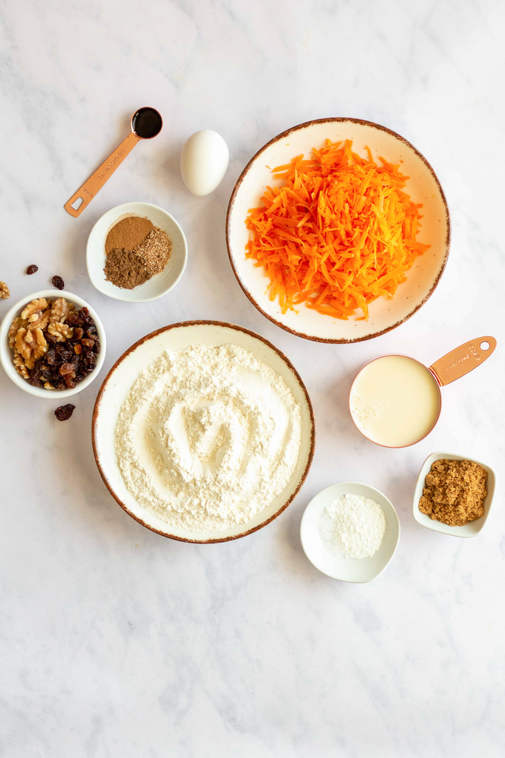 ingredients to make whole wheat carrot cake pancakes
