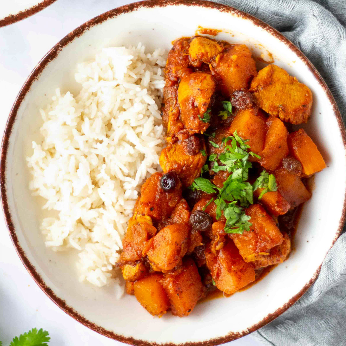 Moroccan pumpkin chicken stew on a plate with rice
