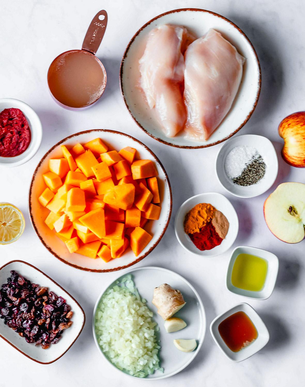 ingredients for Moroccan pumpkin chicken stew