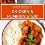 pinnable image of Moroccan chicken pumpkin stew on plates
