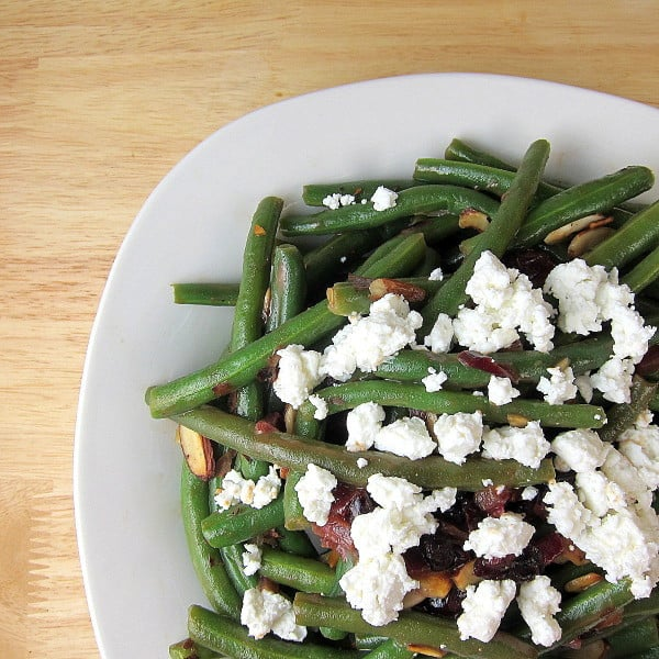 Green Beans with Cranberries Almonds Goat Cheese and Balsamic Glaze
